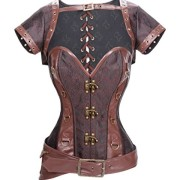 Charmian-Womens-Plus-Size-Spiral-Steel-Boned-Steampunk-Retro-Brocade-and-Leather-Overbust-cors-with-Jacket-and-Belt-Light-Brown-XX-Large-0