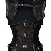 Charmian-Womens-Spiral-Steel-Boned-Retro-Goth-Brocade-Steampunk-Waist-Cincher-Underbust-cors-with-Jacket-Heavy-strong-steel-underbust-black-Large-0