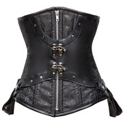 Charmian-Womens-Steampunk-Brocade-Steel-Boned-Underbust-cors-with-Pockets-Black-XX-Large-0