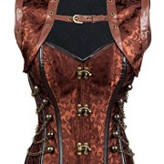 Charmian-Womens-Steampunk-Goth-Steel-Boned-Brocade-High-Neck-Buck-Closure-cors-with-Jacket-Light-brown-Small-0