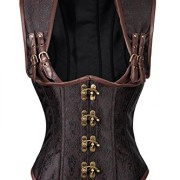 Charmian-Womens-Steampunk-Gothic-Brocade-Steel-Boned-Vest-Underbust-cors-with-Jacket-Busk-brown-XX-Large-0