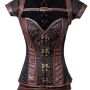 Charmian-Womens-Steampunk-Jacquard-Steel-Boned-Busk-cors-with-Jacket-and-belt-Heavy-strong-steel-belt-brown-Small-0