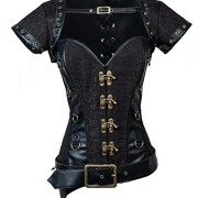 Charmian-Womens-Steampunk-Steel-Bone-Black-Lace-Trim-Overbust-cors-with-Jacket-Belt-Black-XX-Large-0