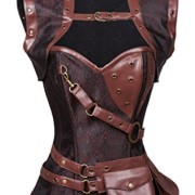 Charmian-Womens-Steampunk-Steel-Boned-Brocade-High-Neck-cors-with-Jacket-Buckles-brown-Small-0