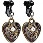 Body-Candy-Handcrafted-Robo-My-Heart-Steampunk-Intrincado-Incrustacin-Reloj-Gear-Corazn-pendientes-de-Clip-0