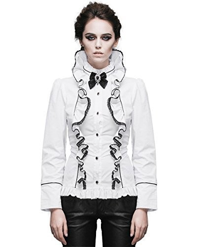Devil-Fashion-Mujer-Blusa-Top-Blanco-Gtico-Steampunk-VINTAGE-Victoriano-Aristocrat-0