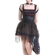 Dress-Brown-and-black-Asimtrico-0